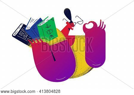 Reading Books, Enjoying Learning And Science Concept. Young Positive Girl Nerd Cartoon Character Hol