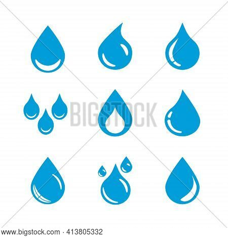 Vector Set Of Blue Water Drop Icons On A White Background.
