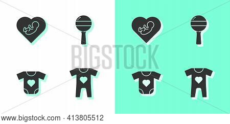 Set Baby Clothes, Inside Heart, And Rattle Baby Toy Icon. Vector