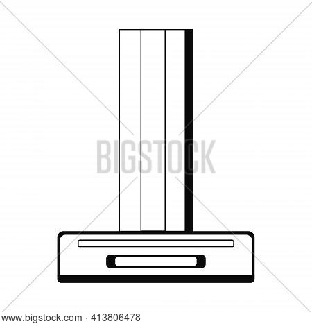 Exhaust Hood Vector In Linear Style Isolated On White Background. Hand Drawn Kitchen Hood. Household