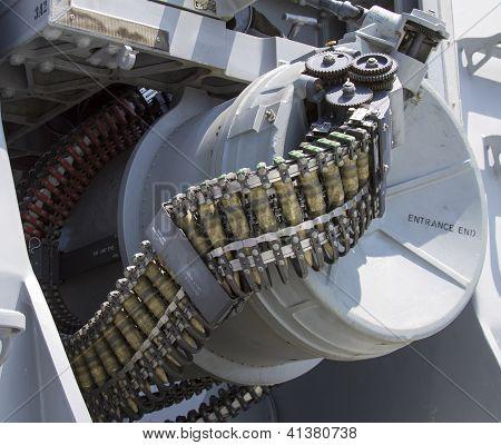 Round of ammunition loaded into .50-caliber machine gun