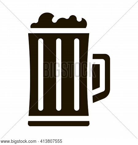 Foamy Beer Cup Icon Vector Glyph Illustration