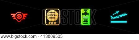 Set Aviation Emblem, Attitude Indicator, Mobile With Ticket And Plane Takeoff Icon. Vector
