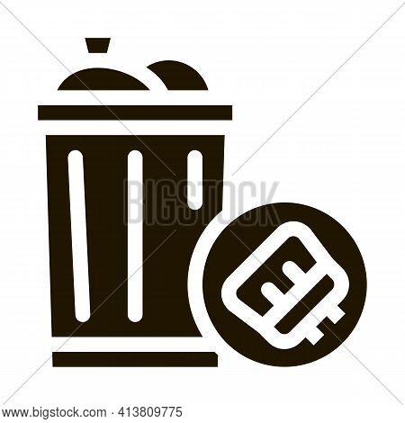 Rubbish Trash Can Glyph Icon Vector. Rubbish Trash Can Sign. Isolated Symbol Illustration