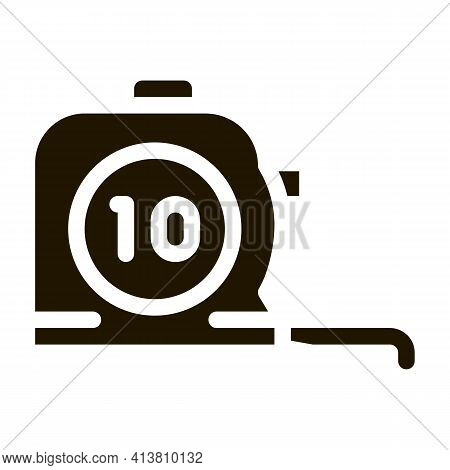 Reel Meter Tool Glyph Icon Vector. Reel Meter Tool Sign. Isolated Symbol Illustration