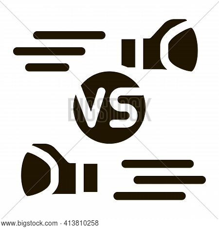 Box Fight Battle Glyph Icon Vector. Box Fight Battle Sign. Isolated Symbol Illustration