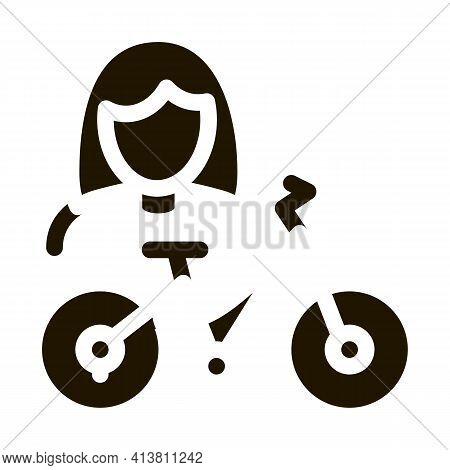 Bike For Women Glyph Icon Vector. Bike For Women Sign. Isolated Symbol Illustration