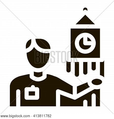 Guide Near Big Ben Glyph Icon Vector. Guide Near Big Ben Sign. Isolated Symbol Illustration