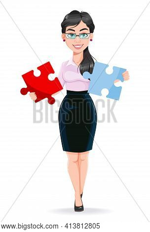 Beautiful Successful Business Woman Cartoon Character Solving Problem. Usable As Manager, Secretary,