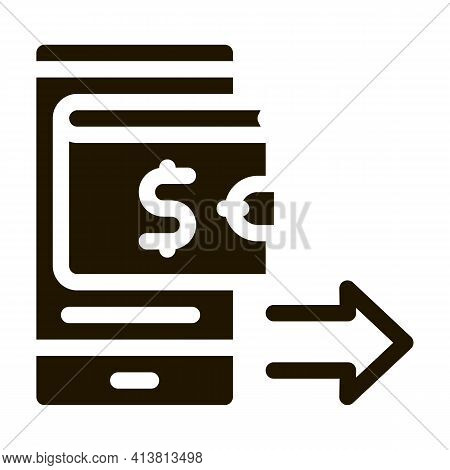 Card Payment Via Smartphone Glyph Icon Vector. Card Payment Via Smartphone Sign. Isolated Symbol Ill