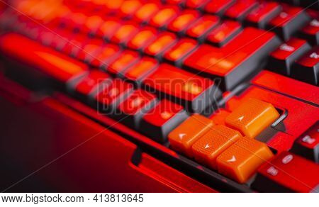Gaming Keyboard From Computer Close-up With Color Backlight