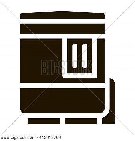 Closed Oven With Timer Glyph Icon Vector. Closed Oven With Timer Sign. Isolated Symbol Illustration