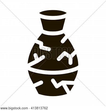 Broken Clay Vase Glyph Icon Vector. Broken Clay Vase Sign. Isolated Symbol Illustration