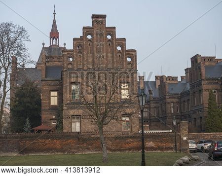 Czech Republic, Prague, February 23, 2021: View Of Building Of Maternity Hospital Apolinar From Apol
