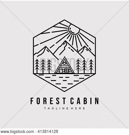 Forest Cabin Line Art. Cabin Logo Vector Illustration Design