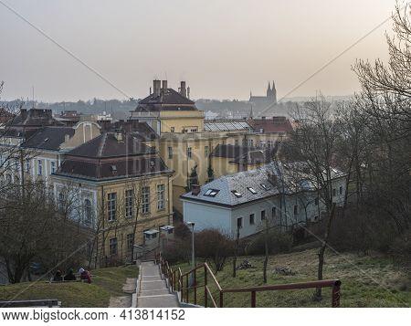 Czech Republic, Prague, February 23, 2021: View Of Prague Karlov Quarter And Vysehrad Church From St