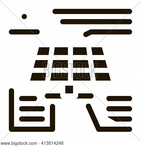 Different Actions Of Solar Battery Glyph Icon Vector. Different Actions Of Solar Battery Sign. Isola