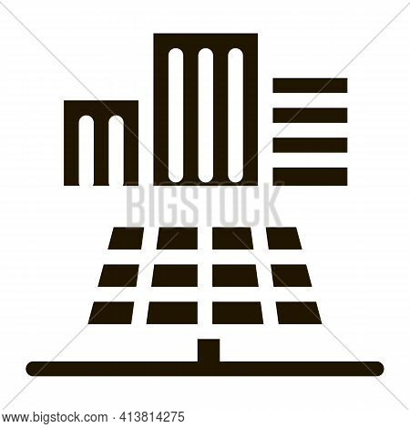 Providing Solar Panels For Residential Buildings Glyph Icon Vector. Providing Solar Panels For Resid