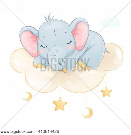Cute Little Elephant Sleeping On A Cloud. Funny Cartoon Character. Stock Vector Illustration On Whit