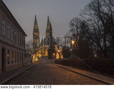 Czech Republic, Prague, February 23, 2021: Illuminated Basilica Of St. Peter And Paul, Gothic Cathed