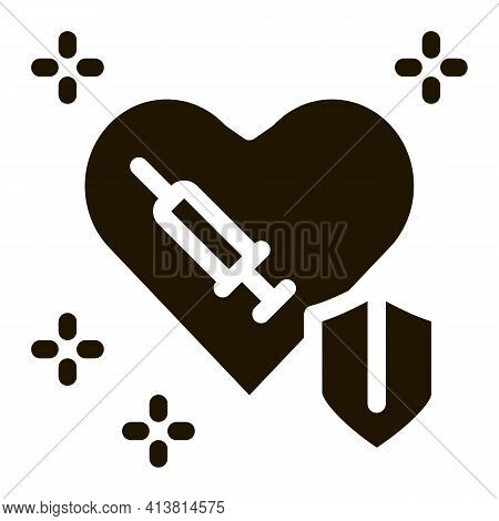 Cardiac Repair Injection Glyph Icon Vector. Cardiac Repair Injection Sign. Isolated Symbol Illustrat