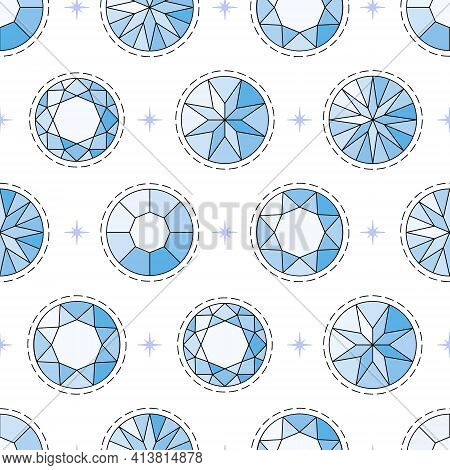 Seamless Pattern With Blue Round-cut Diamonds With A Black Outline And A Cartoon Dotted Line Around.