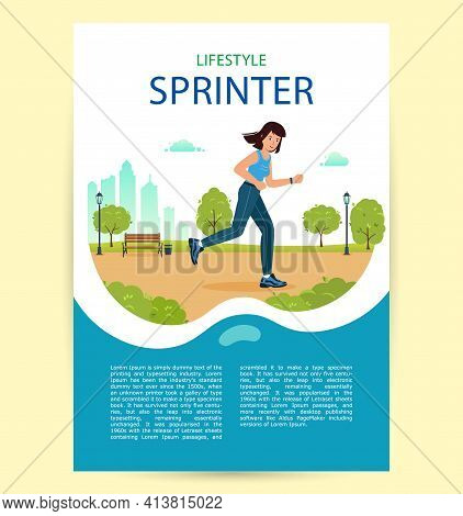 Woman Is Jogging In City Park. Poster Happy Sprinter Girl.