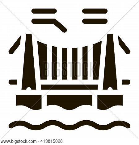 Suspension Bridge In Water Glyph Icon Vector. Suspension Bridge In Water Sign. Isolated Symbol Illus