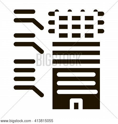 Analysis Of Functions Of Parts Of Residential Building Glyph Icon Vector. Analysis Of Functions Of P