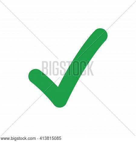 Green Checkmark Icon Vector Illustration Isolated On White Background