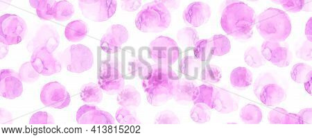 Seamless Painted Polka Dots. Drawn Rounds Background. White Circles Design. Abstract Painted Polka D