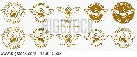 Concept For Product Packaging. Labeled - Saturated Fat Free. Stamp With Wings And A Bold Drop Of Sat