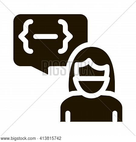 Conversation Protesting Woman Glyph Icon Vector. Conversation Protesting Woman Sign. Isolated Symbol