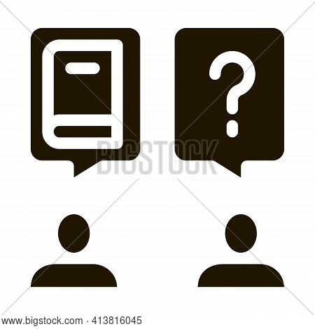 Book Discussion Dialogue Glyph Icon Vector. Book Discussion Dialogue Sign. Isolated Symbol Illustrat