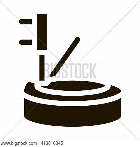 Tire And Jack Glyph Icon Vector. Tire And Jack Sign. Isolated Symbol Illustration