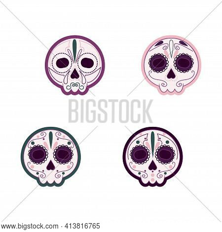 Painted Skulls With Colored Contour Outline In White Background