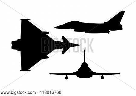 Modern Fighter Jet Vector Silhouettes On A White Background