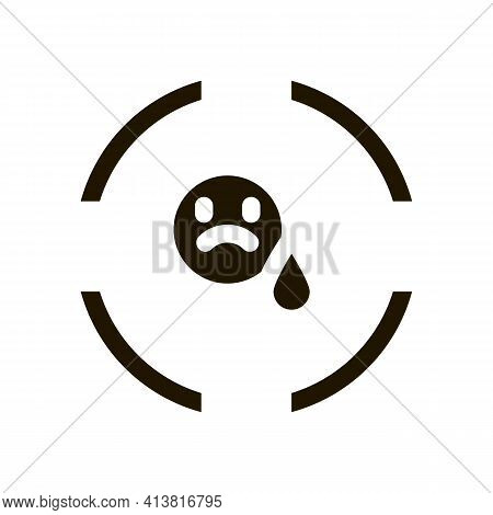 Target On Sad Person Glyph Icon Vector. Target On Sad Person Sign. Isolated Symbol Illustration