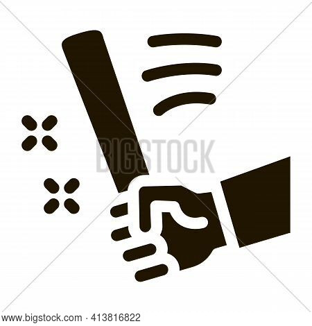 Man Hand With Bat Glyph Icon Vector. Man Hand With Bat Sign. Isolated Symbol Illustration