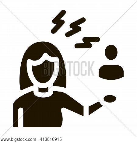 Female Discussion And Conviction Glyph Icon Vector. Female Discussion And Conviction Sign. Isolated