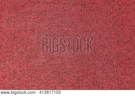 Dark Red, Burgundy, Grainy Textured Surface, Top View, Banner. Background Of Magenta Cloth Thread Te