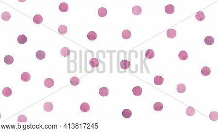 Cute Polka Vector Watercolor Circles. Pink Rounds Texture. White Vintage Dots Wallpaper. Color Vecto