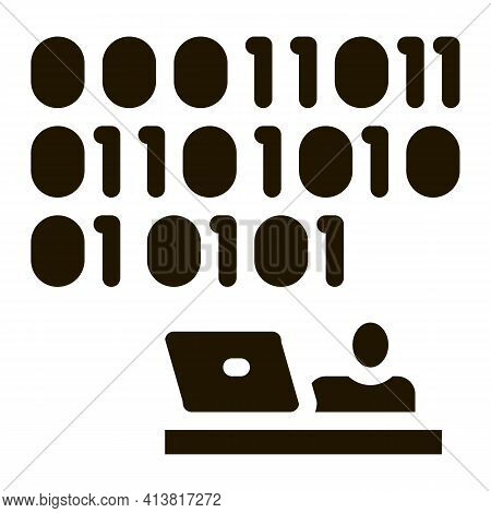 People Come Up With Binary Code Glyph Icon Vector. People Come Up With Binary Code Sign. Isolated Sy
