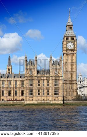Big Ben Clock. Palace Of Parliament In London Uk. Landmark Of London.