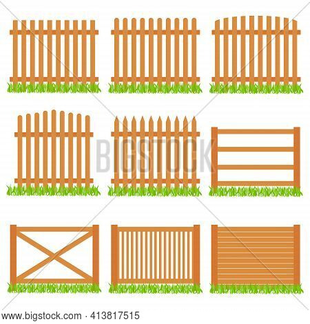 Fence. Set Of Wooden Fences With Grass On A White Background. Vector, Cartoon Illustration. Vector.