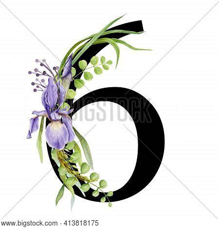 Floral Spring Alphabet. Number 6. Font Element With Spring Garden Flower Bouquets Composition. Flowe