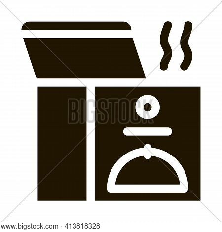 Thermal Food Box Glyph Icon Vector. Thermal Food Box Sign. Isolated Symbol Illustration