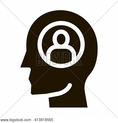 Thought Of One Person Glyph Icon Vector. Thought Of One Person Sign. Isolated Symbol Illustration