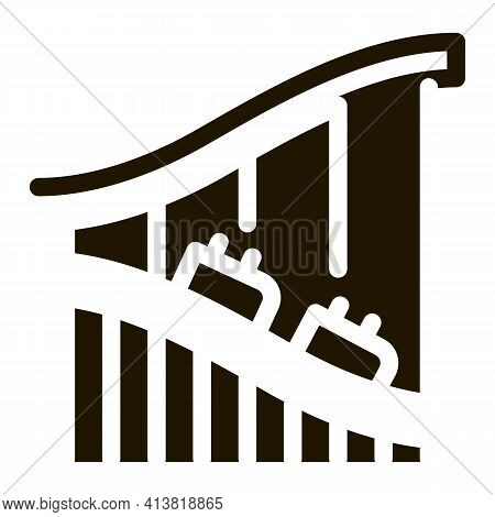 Roller Coaster Ride Glyph Icon Vector. Roller Coaster Ride Sign. Isolated Symbol Illustration
