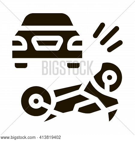 Motorcycle Hit By Car Glyph Icon Vector. Motorcycle Hit By Car Sign. Isolated Symbol Illustration